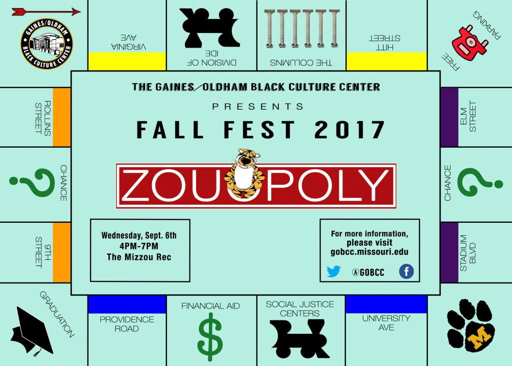 What: Fall Fest 2017 Date: Wednesday, September 6, 2017 Set-Up Time: 2:30 - 4 p.m. Event Time: 4 -7 p.m. Location: MizzouRec